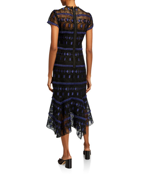 Nanette Lepore Fringe-Trim Short-Sleeve Lace Midi Dress