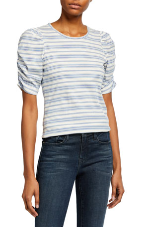 FRAME Gathered Crewneck Striped Top