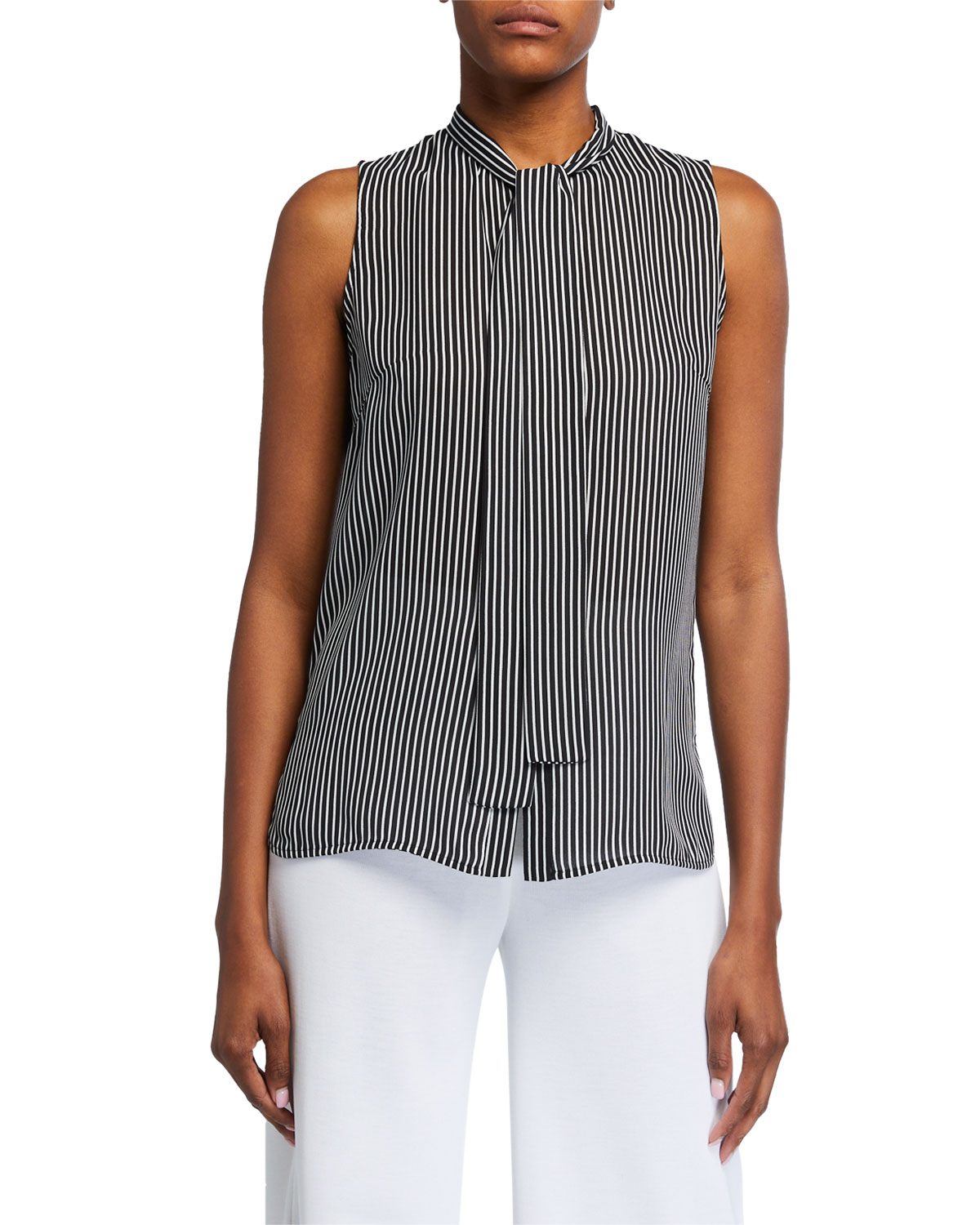 Misook Petite Striped Tie-Neck Sleeveless Blouse