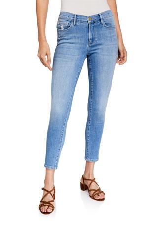 FRAME Le Skinny De Jeanne Cropped Double-Needle Jeans
