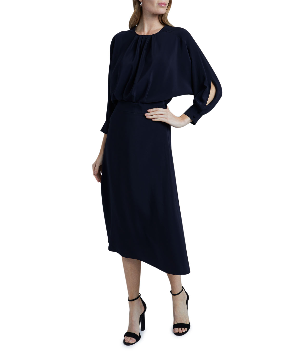 Victoria Victoria Beckham Long Dolman-Sleeve Dress