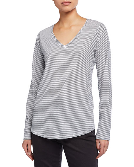 Eileen Fisher Striped Organic Cotton Jersey V-Neck Long-Sleeve Tee