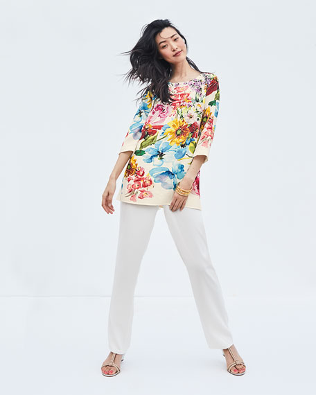 Image 2 of 3: Caroline Rose Petite Flirty Floral 3/4-Sleeve Printed Linen Tunic