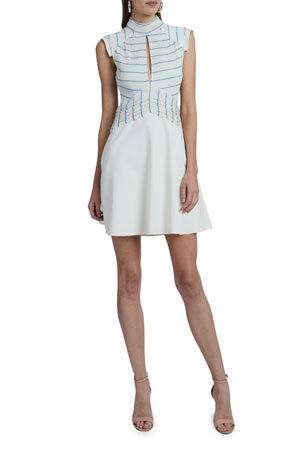 Victoria Victoria Beckham Crinkle Stripe Mini Dress