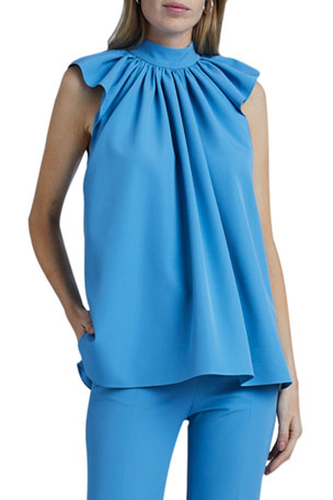 Victoria Victoria Beckham Ruched-Shoulder Sleeveless Top