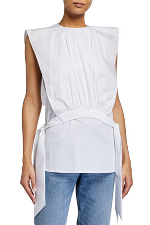 Victoria Victoria Beckham Gathered Cotton Bib Top