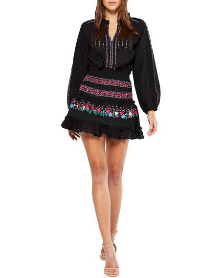 MISA Los Angeles Manuela Embroidered Mini Dress