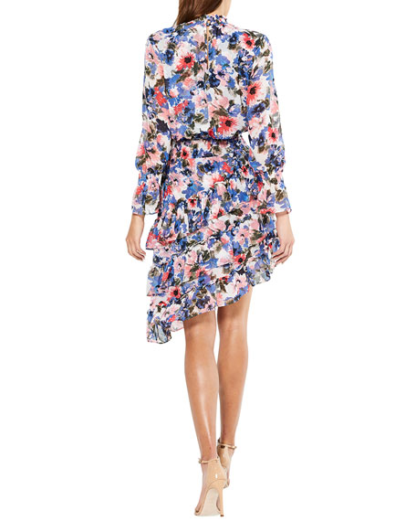 MISA Los Angeles Savanna Floral-Print Asymmetric Ruffle Dress