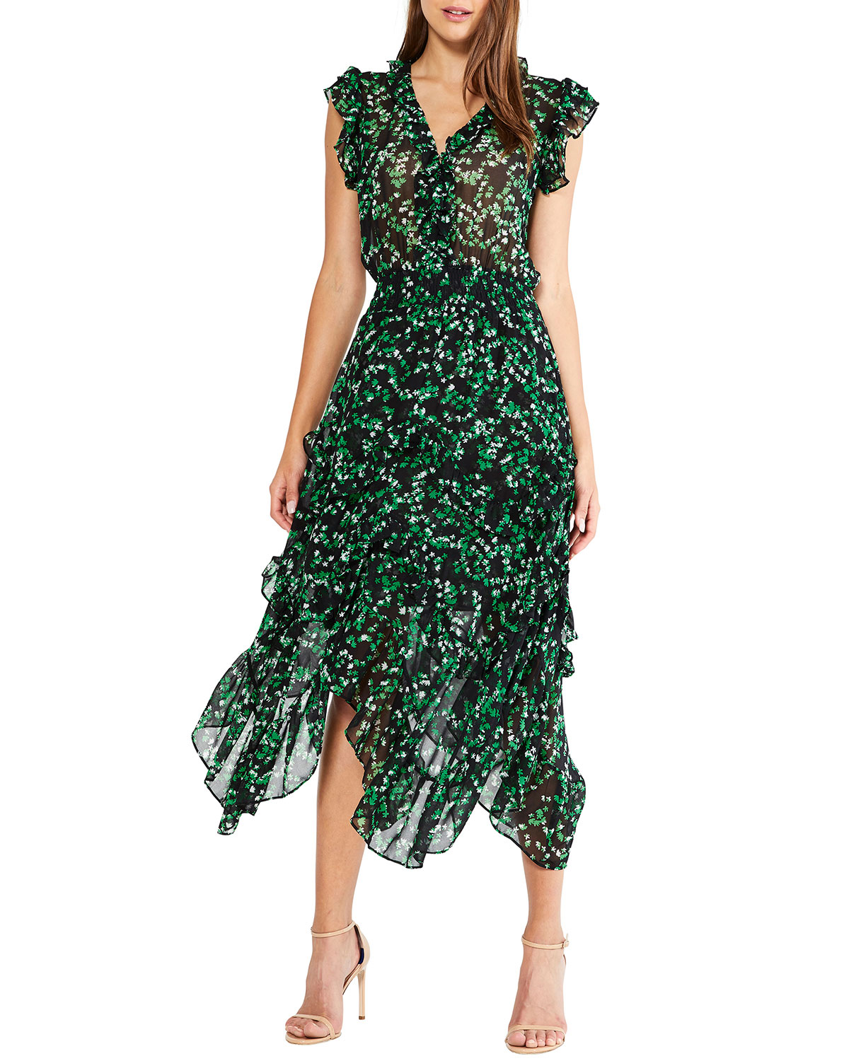 MISA Los Angeles Dakota Floral-Print Handkerchief Dress