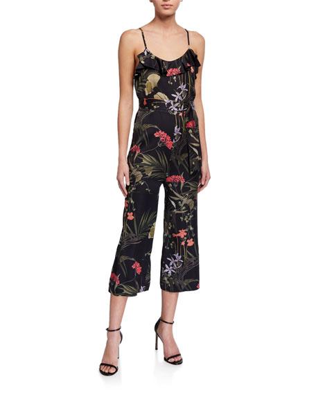 Ted Baker Calline Highland Floral-Print Sleeveless Frill Jumpsuit