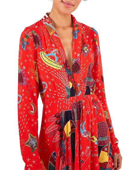 Farm Rio Carnival Long-Sleeve Maxi Dress