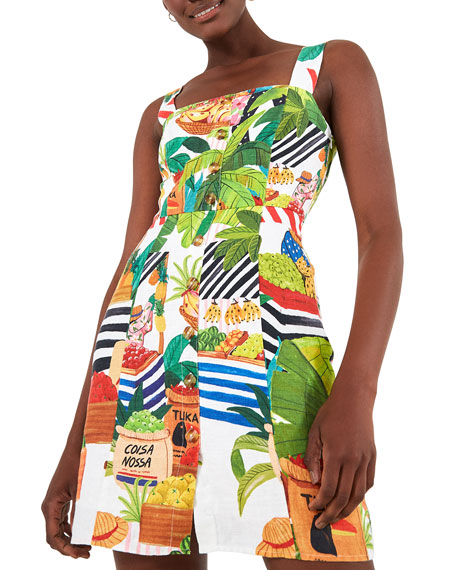 Image 2 of 5: Farm Rio Tropical Fair Linen Mini Dress