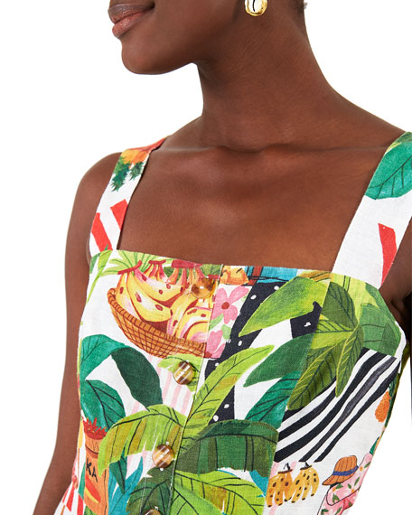 Image 4 of 5: Farm Rio Tropical Fair Linen Mini Dress