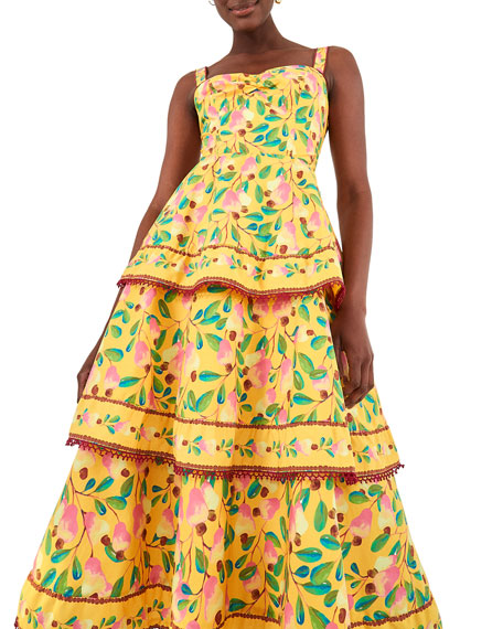 Image 2 of 5: Farm Rio Cashew Tiered Midi Dress