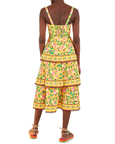 Image 3 of 5: Farm Rio Cashew Tiered Midi Dress