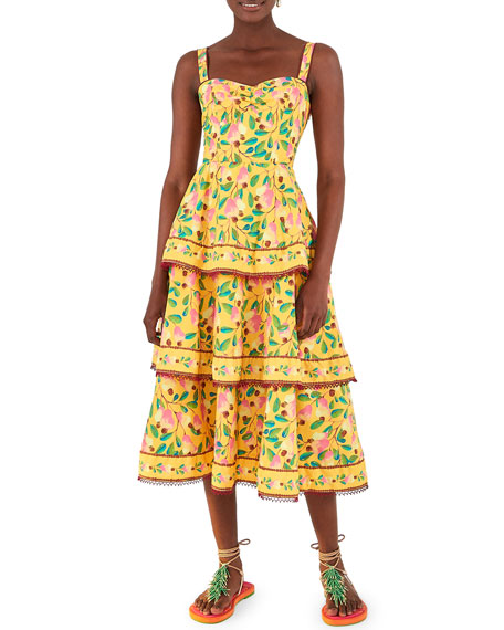 Image 1 of 5: Farm Rio Cashew Tiered Midi Dress