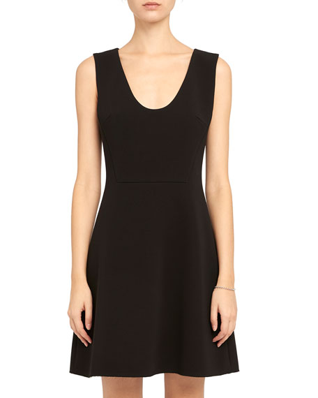 Image 2 of 4: Theory Double Crepe Scoop-Neck Flounce Dress