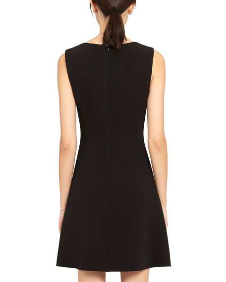 Image 3 of 4: Theory Double Crepe Scoop-Neck Flounce Dress