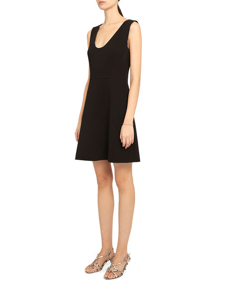 Image 4 of 4: Theory Double Crepe Scoop-Neck Flounce Dress