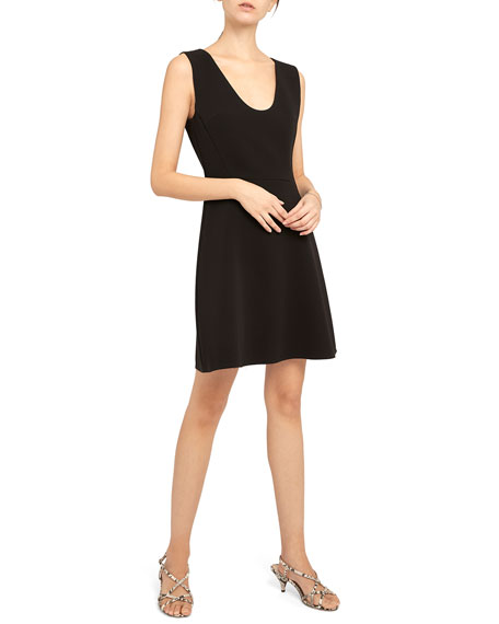 Image 1 of 4: Theory Double Crepe Scoop-Neck Flounce Dress