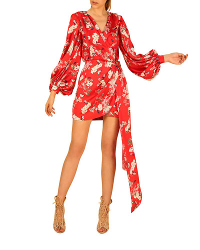 Tokio Floral Balloon-Sleeve Mini Wrap Dress