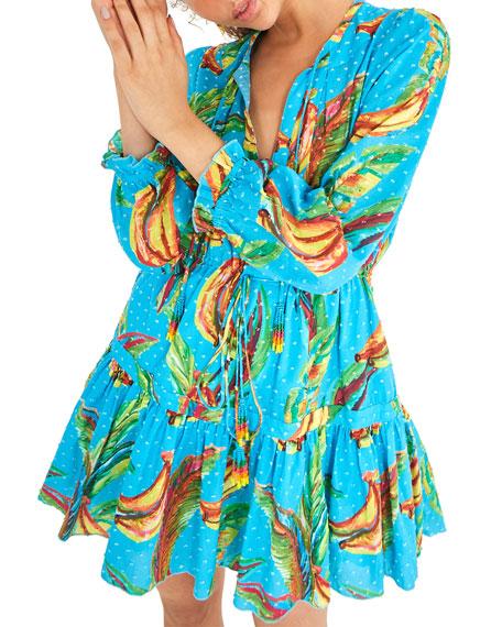 Farm Rio Banana Sky Long-Sleeve Mini Dress