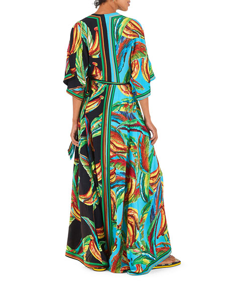 Farm Rio Mixed Banana Long Wrap Dress