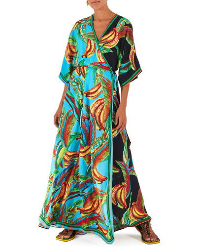 Mixed Banana Long Wrap Dress