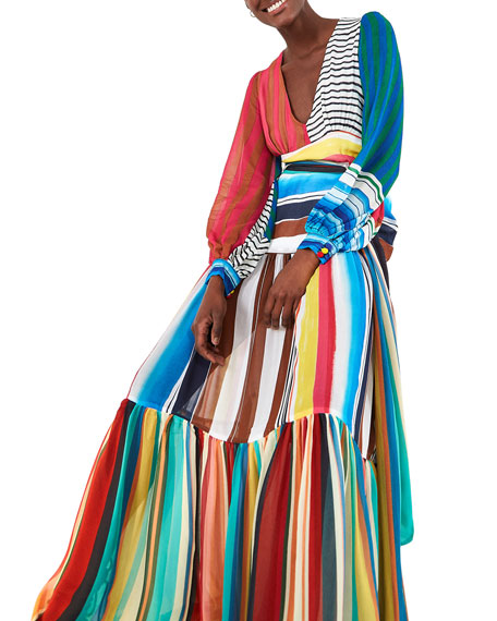 Farm Rio Thalita Striped Maxi Dress