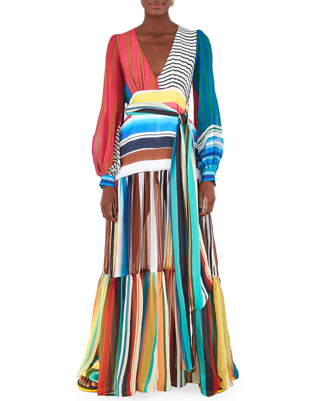 Farm Rio Thalita Striped Maxi Dress