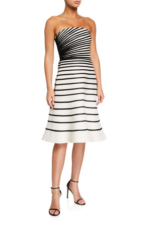 Halston Colorblock Striped Strapless Faille Dress