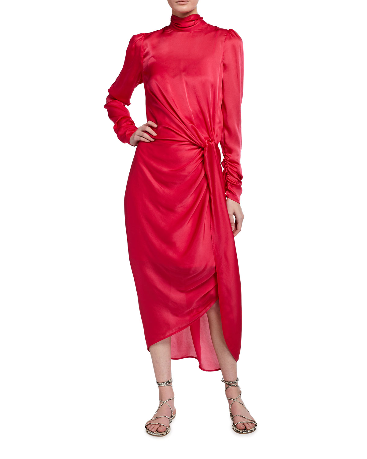 Zimmermann Draped Long-Sleeve Asymmetric Cocktail Dress