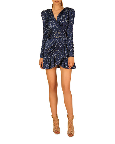 Bronte Polka-Dot Long-Sleeve Mini Dress