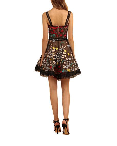 Bronx and Banco Ivana Embroidered Mini Fit-&-Flare Dress