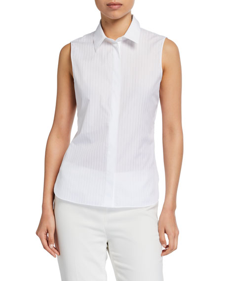 Image 1 of 2: Theory Pinstriped Fitted Sleeveless Button-Down Shirt