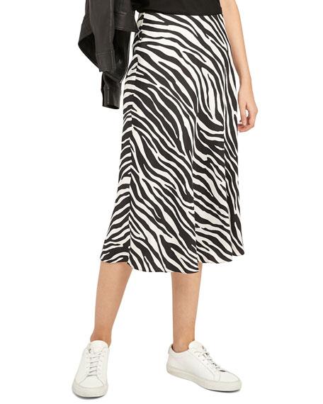 Theory Modern Zebra Twill Slip Skirt