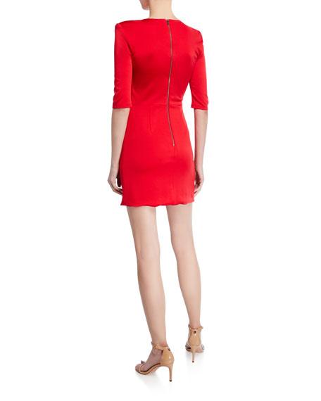 Alice + Olivia Nova Strong-Shoulder Asymmetric Mini Dress