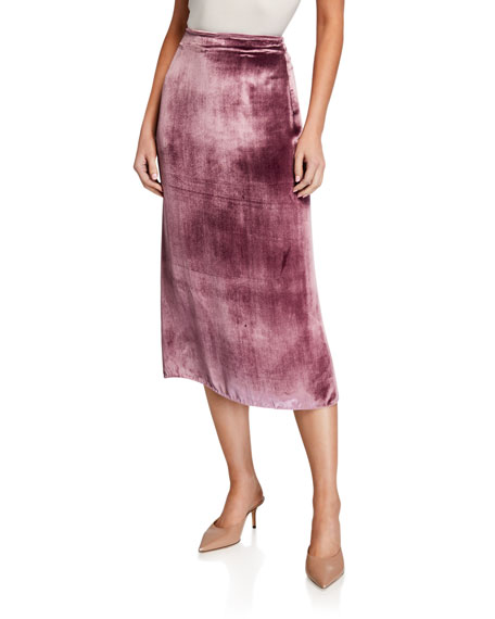 Image 1 of 3: Long Panne Velvet Wrap Skirt