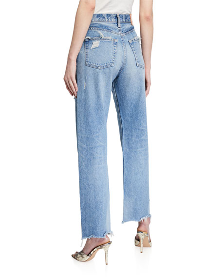 Image 2 of 3: Lomita Wide Straight-Leg Distressed Jeans