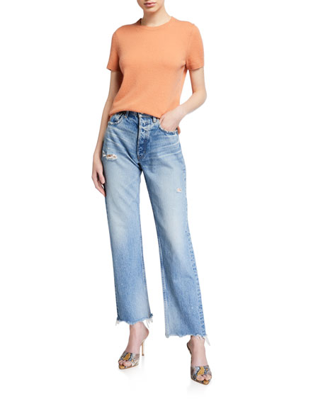 Image 3 of 3: Lomita Wide Straight-Leg Distressed Jeans
