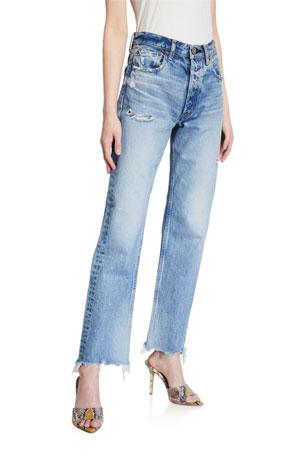 MOUSSY VINTAGE Lomita Wide Straight-Leg Distressed Jeans