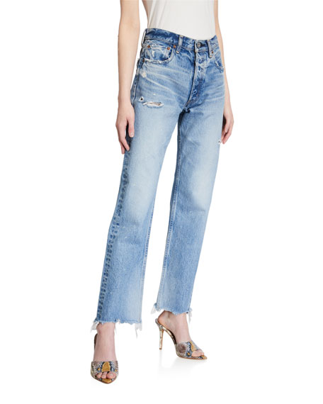 Image 1 of 3: Lomita Wide Straight-Leg Distressed Jeans