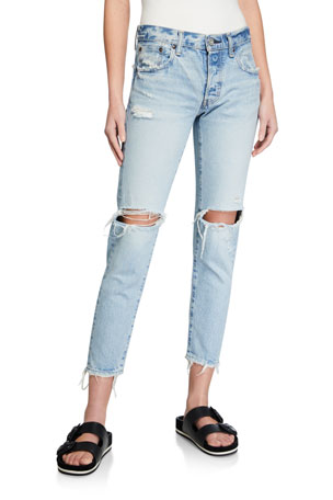 MOUSSY VINTAGE Yardley Tapered Ripped-Knee Jeans