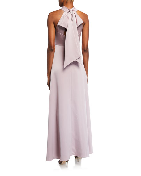 Image 2 of 2: Aidan Mattox Draped Halter Gown