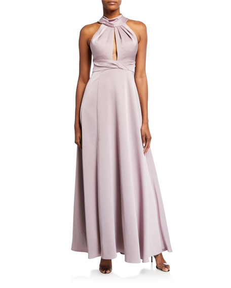 Image 1 of 2: Aidan Mattox Draped Halter Gown