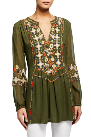 Tolani Lauren Embroidered Long-Sleeve Tunic