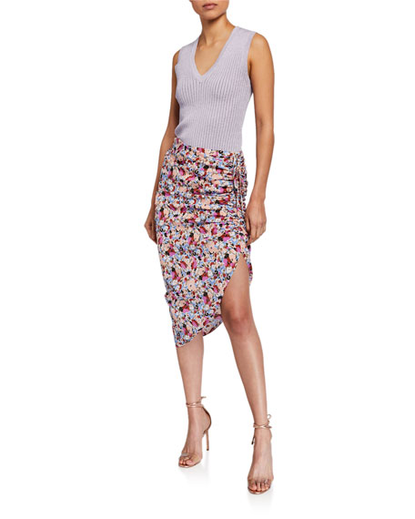 Image 3 of 3: Veronica Beard Ari Ruched Floral Asymmetric Skirt
