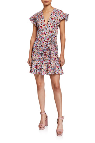 Veronica Beard Marla Ruched Floral-Print Short Dress