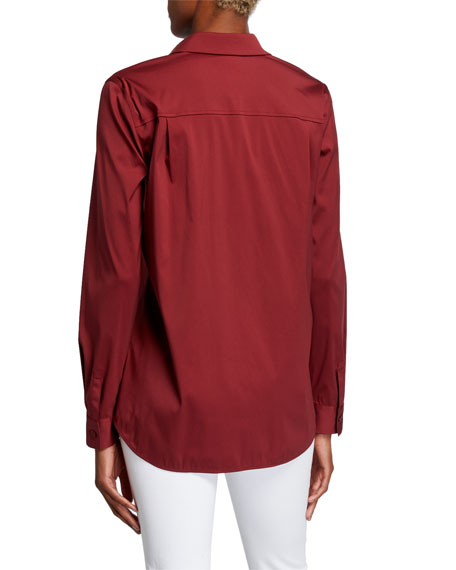 Lafayette 148 New York Brody Long-Sleeve Button-Down Italian Stretch Cotton Blouse