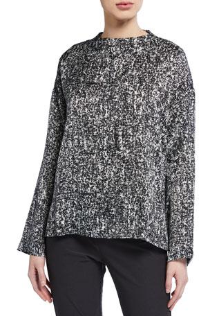 Eileen Fisher Plus Size Prism Print Funnel-Neck Silk/Organic Cotton Box Top